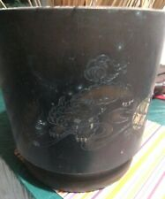 Auntique japanese foo dog brass large vase pot nego.
