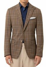 Tallia Mens Sports Coat Brown Size 46l Plaid Wool Slim-fit Blazer TB