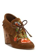 NEW Tory Burch Huntington Embroidered Fringe Suede Bootie, Women Size 5.5  $450