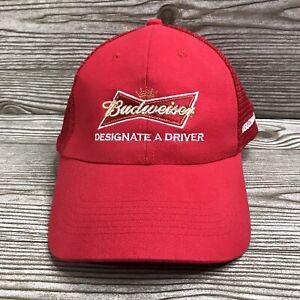 BUDWEISER Designate A Driver Red MESH BASEBALL Cap HAT SnapBack Bud Blimp