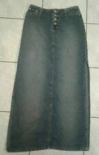 Squeeze Stephen Hardy Denim Maxi Skirt Size 1/2 Blue Side Splits Vtg 90s