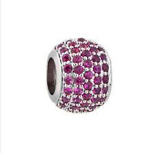 Pink CZ Charm Bead, 925 Sterling Silver, fits European Style Bracelets
