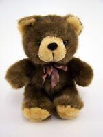 Kuscheltier Plüschtier Teddy braun mit bardouxfarbener Schleife sitzend ca.20 cm