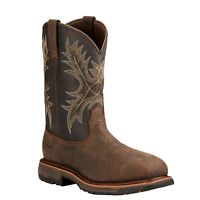 Ariat Men's Workhog H2O Wide Square Safety Toe Bruin Coffee Work Boots 10017420