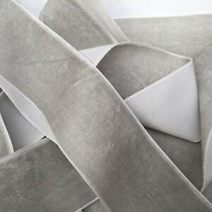 Pale Grey Neat Edge Velvet Ribbon Wedding Sewing Easter Craft Christmas 1 Metre