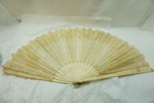ANTIQUE LACE FAN CARVED STICKS BOBBIN LACE HAND PAINTED FLOWERS 19thC AS IS