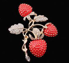 Große Brosche Erdbeere, Zweige und Blätter, weiße Kristalle, Emaille, goldfarben