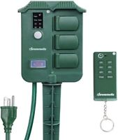 DEWENWILS Outdoor Power Stake Timer Photocell Wireless Remote Control HOYS16D