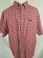 Chaps Ralph Lauren Vintage Red White Plaid Check Short Sleeve Casual Shirt XL
