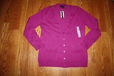 NWT Womens Grace Elements Fuchsia Purple Cardigan Sweater Size S Small