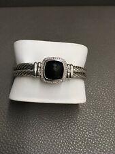 David Yurman Sterling Silver Albion Black Onyx and Diamond Double Cable Bracelet