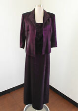 Alex Evenings Iridescent Purple Dress and Jacket Sequin Set 12P Evening Formal