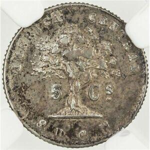 Costa Rica: Republic 5 Centavos 1875 GW, NGC AU 50, KM# 110 Silver Coin