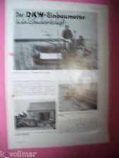✪ Prospekt Brochure DKW Motoren Auto Union von 1937 Einbaumotor Landwirtschaft