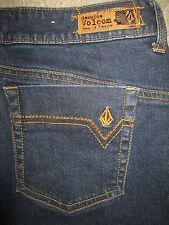 VOLCOM Boyfriend Coupe Ample Stretch Dark Blue Denim Jeans Womens Size 1 x 32