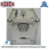 "1 X NEO Aluminium SILVER DJ Flight Case to Store 100 Vinyl Singles 7"" Records HQ"