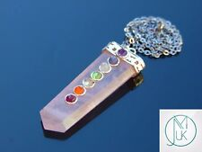 Rose Quartz 7 Chakra Flat Natural Gemstone Pendant Necklace 50cm Healing Stone