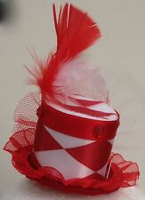 Red and White Harlequin mini top hat fascinator