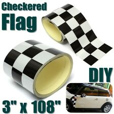 3'' Inch Black/White Checkered Flag Vinyl Decal Tape Car Bike Motorcycle Sticker