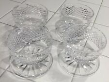 "Waterford, Irish Cut Crystal Footed Dessert Bowls (4) ""Kinsale""/""Maeve"" Signed"