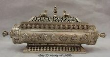 Tibet Buddhism White Copper Silver Eight treasures Palace Incense Burner Censer