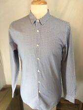 TOPMAN Mens Long Sleeve Button Geometric Pattern Shirt Blue White Mediun