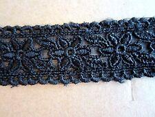 "1 1/4"" Embroidered Floral Trim  BLACK  (3 yd)"