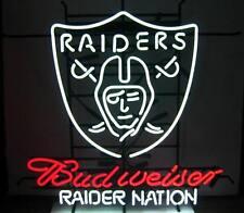 "New Budweiser Oakland Raiders Nation NFL Beer Neon Light Sign 24""x20"""