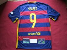 BARCELONA STRIKER LUIS SUAREZ PERSONALLY SIGNED 2015-16 HOME SHIRT - PHOTO PROOF