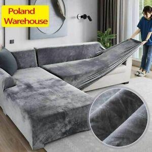 Elasticated Plush Sofa Cover Velvet Corner Couch Cover Furniture For Living Room