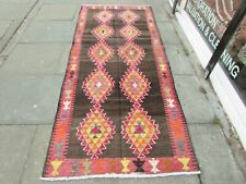 Kilim Old Traditional Handmade Persian Oriental Brown Pink Wool Kilim 272x108cm