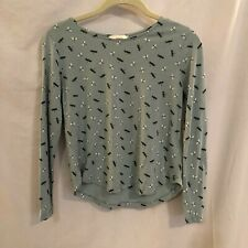 H and M Juniors Cropped Top Dragonfly Print Long Sleeve Blue Size XS