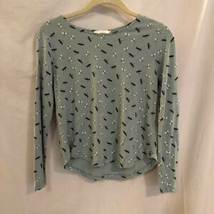 H&M Juniors Cropped Top Size XS Dragonfly Print Long Sleeve Blue