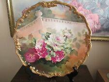 """Limoges France Hand Painted Charger Plate Roses Signed A. Rico 13.5"""""""