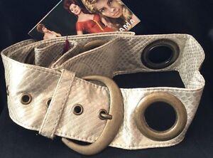 Vintage Mod go go style Pale Gold Faux Snakeskin Brass Fittings Wide Belt M