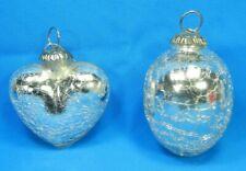 Vintage Kugel Cracked Glass Christmas Ornament Lot Of 2 Heart & Oval