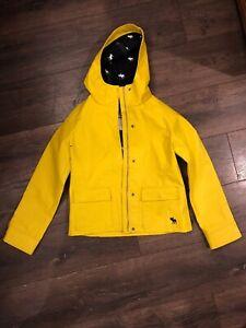 ABERCROMBIE KIDS Unisex Hooded Raincoat Rain Coat Jacket Bright Yellow Size XL