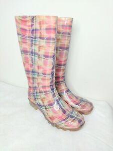 Women's 8 Coach Logo Plaid Rain Boots