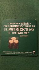 COLLECTABLE UNUSED BEER MAT COASTER - DOUBLE  SIDED -  GUINNESS     (FF64)