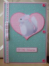 Handmade Chinchilla Valentine Card Valentine's Day Pet Animal Pink Green