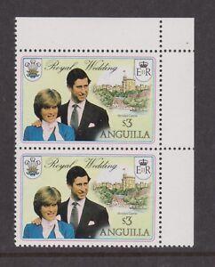 1981 Royal Wedding Charles & Diana MNH Stamps Anguilla Extra Flagstaff Variety