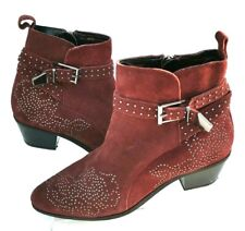 Nine Savannah Miller Chelsea Ankle Cowboy Boots Woman Size 6 Uk 39 EUR Rust Red