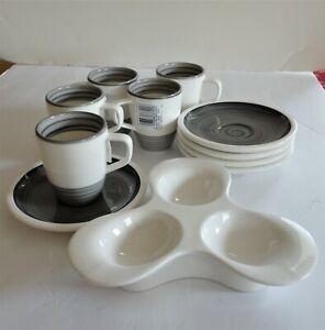 New Villeroy Boch 5 Sets Artesano Manufacture Gris Espresso Cup Saucer Egg Dish