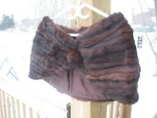 "#E5 Little Vintage Redish Brown Muskrat Fur Stole wrap 34"" In Long"