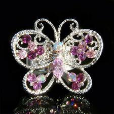 w Swarovski Crystal ~Purple Cutout BUTTERFLY~ Cocktail Celebrity Adjustable Ring