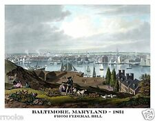 1831 Bird's Eye View of BALTIMORE, MD Fine Art Print / Poster