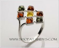 STUNNING MULTICOLOUR  GENUINE BALTIC AMBER 925 STERLING SILVER RING SIZE 5