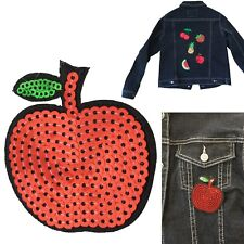 Sequin apple iron on patch fruit apples pie vitamin juicy heat transfer patches