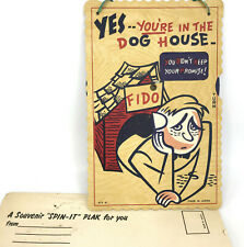 Spin It Plak Plaque 1960s Your In Dog House Dial Reason Novelty Japan w Envelope