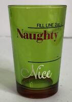 """Green Naughty / Nice Christmas 2 Oz Shotglass Pre Owned (~2 3/4"""" T) Shot Glass"""